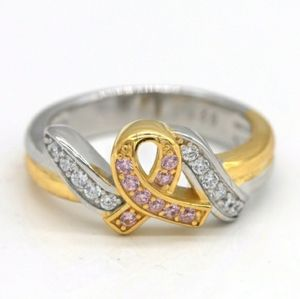 Take 1 Boutique Jewelry - Two Tone Breast Cancer Awareness Ribbon Ring